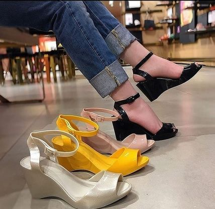 Melissa Open Toe Casual Style Collaboration Plain PVC Clothing