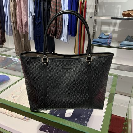GUCCI Casual Style Calfskin A4 Leather Office Style Elegant Style