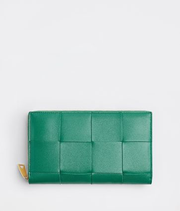BOTTEGA VENETA Calfskin Lambskin Plain Leather Long Wallet  Long Wallets
