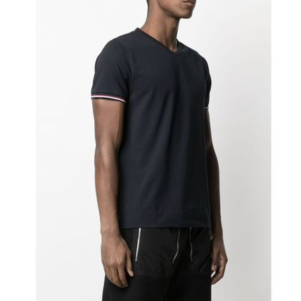 MONCLER Street Style V-Neck Plain Cotton Short Sleeves Oversized