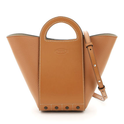 Casual Style Calfskin Blended Fabrics Street Style 2WAY