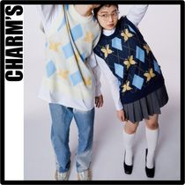 Charm's Casual Style Unisex Street Style Vests