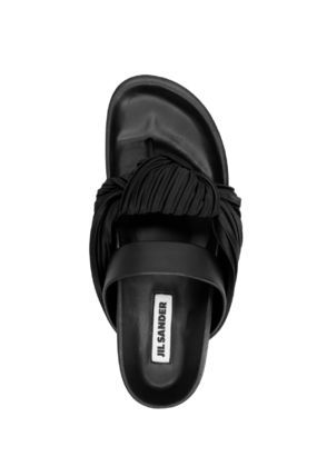 Jil Sander Casual Style Plain Leather Party Style Logo Sandals