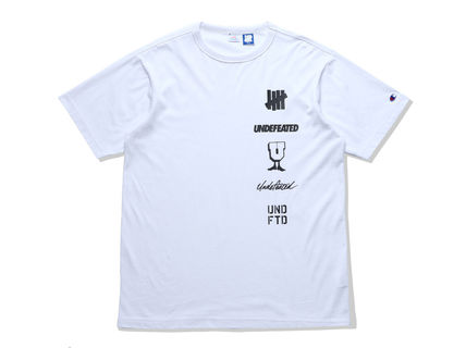 UNDEFEATED Crew Neck Crew Neck Pullovers Street Style Plain Cotton Short Sleeves