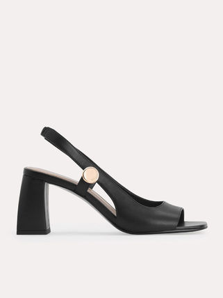 Pedro Open Toe Plain Leather Block Heels Party Style Office Style