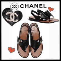 CHANEL ICON Casual Style Plain Leather Logo Sandals