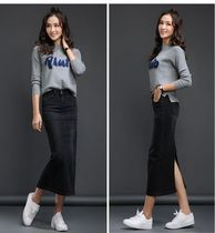 Pencil Skirts Casual Style Denim Long Maxi Skirts