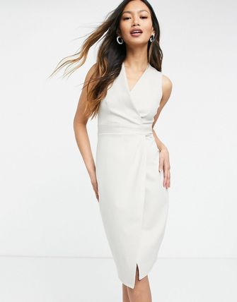 Bridal Wrap Dresses Casual Style Tight Sleeveless V-Neck