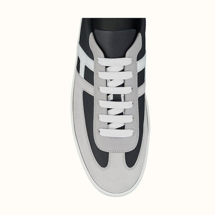 HERMES BOOMERANG Unisex Suede Blended Fabrics Plain Leather Logo Sneakers