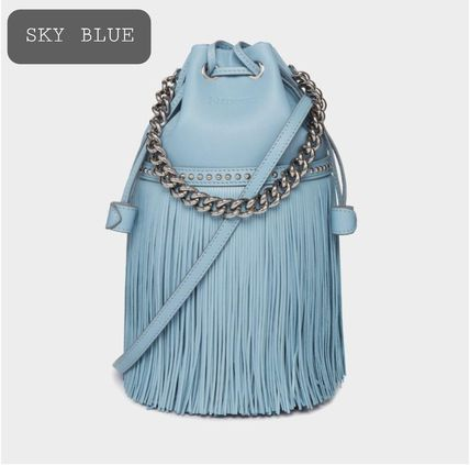Casual Style Nylon Studded 2WAY Chain Plain Leather