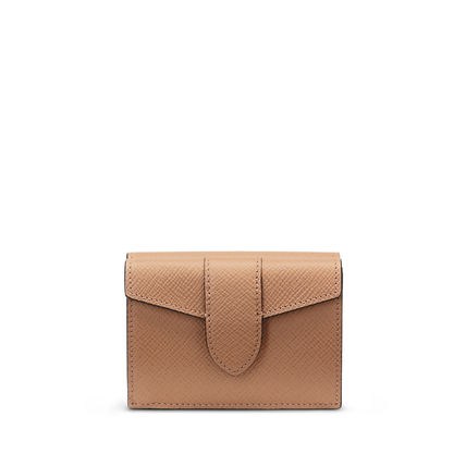 Plain Leather Folding Wallet Small Wallet Logo