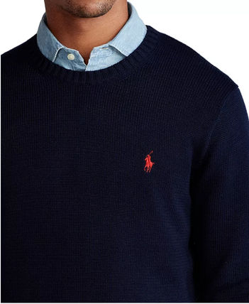 Ralph Lauren Crew Neck Long Sleeves Plain Cotton Logo Surf Style Sweaters