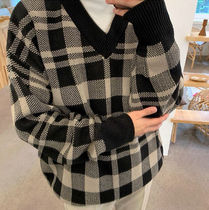 Other Plaid Patterns V-Neck Long Sleeves Oversized Sweaters