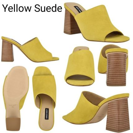 Mules Open Toe Casual Style Suede Plain Leather Block Heels