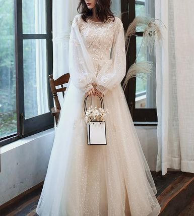Plain Long Lace Puff Sleeves Wedding Dresses