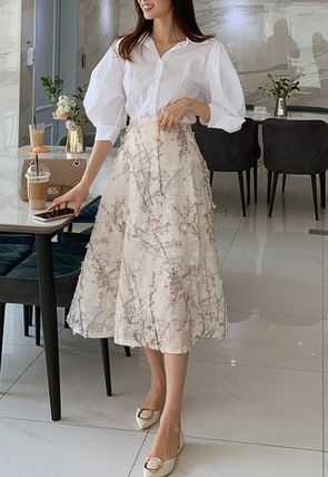 Flared Skirts Flower Patterns Casual Style Medium Long