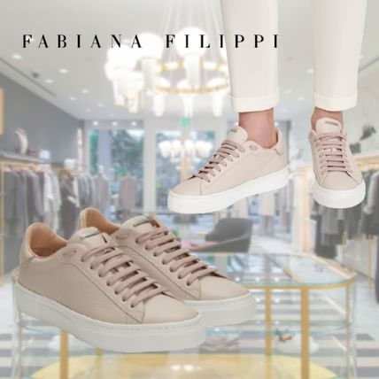 Round Toe Lace-up Casual Style Plain Leather Office Style