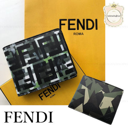 FENDI Military Monogram Leather Folding Wallets