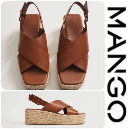 Formal Style  Open Toe Casual Style Leather Street Style