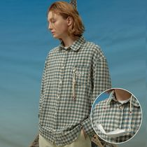 Wai Kei Button-down Gingham Unisex Blended Fabrics Street Style