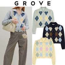 GROVE Casual Style Street Style Long Sleeves Cardigans