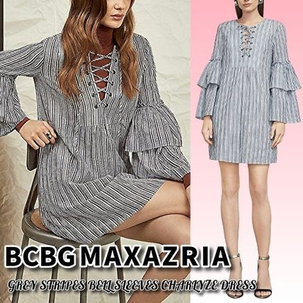 Bridal Short Stripes V-Neck Long Sleeves Cotton Party Style