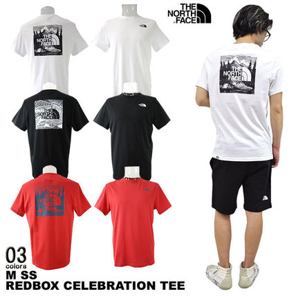 THE NORTH FACE Crew Neck Men'S Short Sleeve Red Box Tee