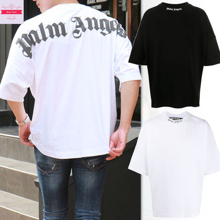 Palm Angels Crew Neck Street Style Cotton Short Sleeves Logo