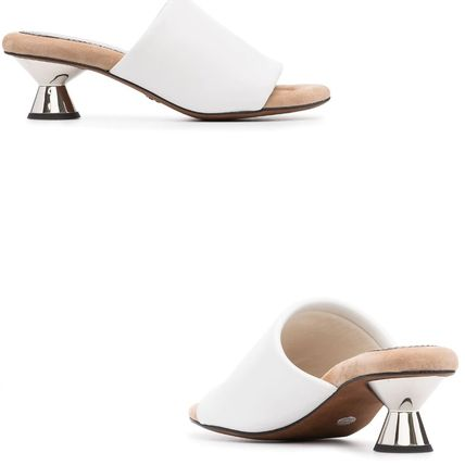 Mules Open Toe Casual Style Plain Leather Party Style