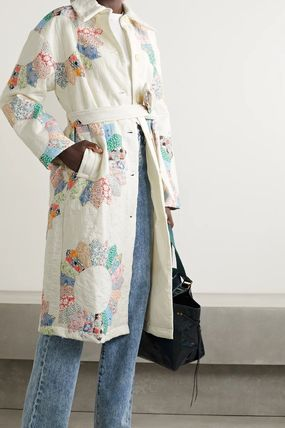 Stand Collar Coats Flower Patterns Casual Style Medium Long