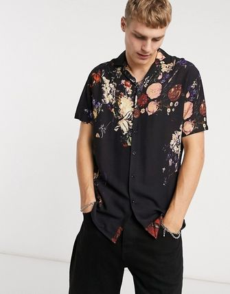 Front Button Flower Patterns Short Sleeves Street Style