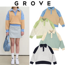 GROVE Casual Style Street Style Long Sleeves V-neck & Crew neck