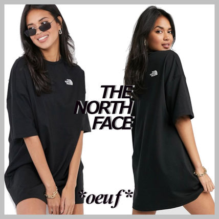 THE NORTH FACE Dresses Crew Neck Casual Style Flared Street Style Plain Cotton Long