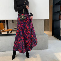Tropical Patterns Casual Style Pleated Skirts Long