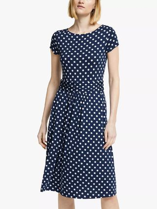 Dots Casual Style A-line Flared Boat Neck Medium