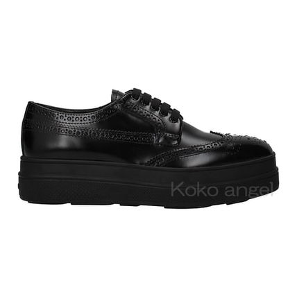 PRADA Platform Casual Style Plain Leather Logo