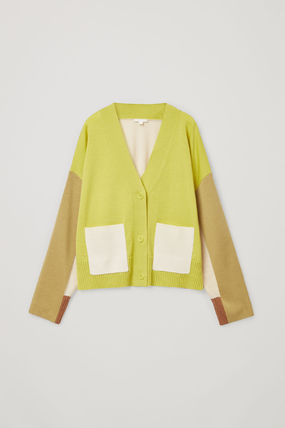 COS Wool Bi-color Long Sleeves Plain Medium Cardigans