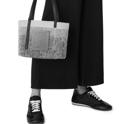 LOEWE Small Square Basket Bag In Textile And Calfskin