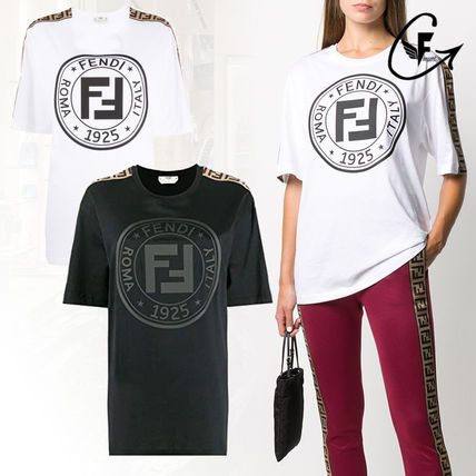 FENDI Crew Neck Unisex Cotton Short Sleeves Logo T-Shirts