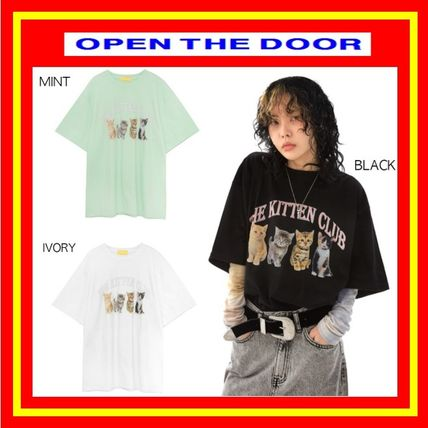 OPEN THE DOOR More T-Shirts Unisex Street Style Plain Short Sleeves Oversized T-Shirts