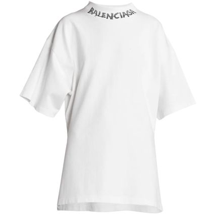 BALENCIAGA Crew Neck Plain Cotton Logo T-Shirts
