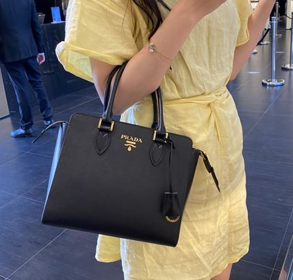PRADA SAFFIANO LUX Casual Style Plain Party Style Elegant Style Formal Style