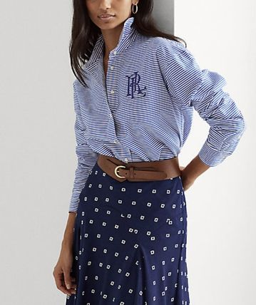 Ralph Lauren Stripes Casual Style Long Sleeves Cotton Office Style