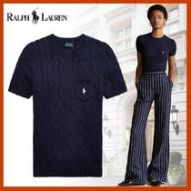 Ralph Lauren Cable Knit Rib Street Style V-Neck Cotton Short Sleeves