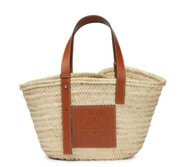 LOEWE Basket Bag In Palm Leaf And Calfskin
