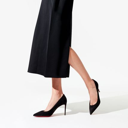 Christian Louboutin Suede Pin Heels Elegant Style Pointed Toe Pumps & Mules