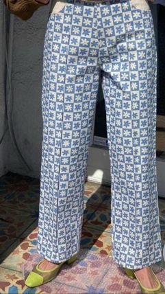 Printed Pants Flower Patterns Casual Style Denim Cotton Long