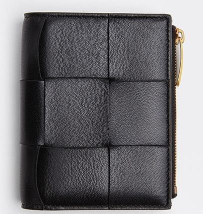 BOTTEGA VENETA Folding Wallet Calfskin Lambskin Plain Leather
