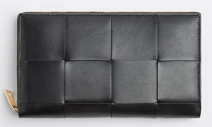 BOTTEGA VENETA Lambskin Plain Leather Long Wallet  Long Wallets