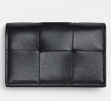 BOTTEGA VENETA Calfskin Lambskin Plain Leather Folding Wallet Card Holders